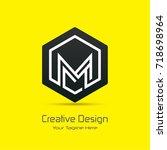 initial m polygon framed letter ... | Shutterstock .eps vector #718698964
