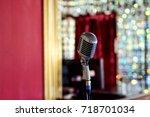 retro microphone | Shutterstock . vector #718701034