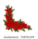 christmas decoration. frame of... | Shutterstock . vector #718701199