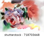 watercolor illustration with... | Shutterstock . vector #718703668