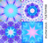 set of abstract decorative blue ... | Shutterstock . vector #718704988