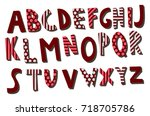 decorative hand drawn alphabet. ... | Shutterstock .eps vector #718705786