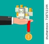 hand holding pile of cash money ... | Shutterstock .eps vector #718711144