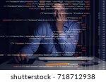 programmer working with...   Shutterstock . vector #718712938