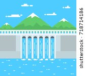 water power illustration.... | Shutterstock . vector #718714186