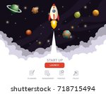 illustration of rocket flying... | Shutterstock .eps vector #718715494