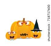 vector illustration  halloween... | Shutterstock .eps vector #718717600