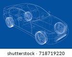 concept car. vector rendering...   Shutterstock .eps vector #718719220