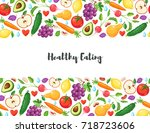 healthy lifestyle poster with... | Shutterstock .eps vector #718723606