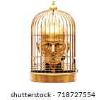 3d render  man with a cage on... | Shutterstock . vector #718727554
