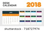 desk calendar 2018. simple... | Shutterstock .eps vector #718727974