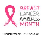 pink ribbon   symbol of breast... | Shutterstock .eps vector #718728550
