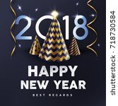 2018 happy new year with gold... | Shutterstock .eps vector #718730584