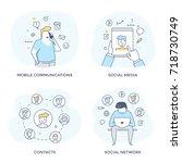social media concept icons for... | Shutterstock .eps vector #718730749
