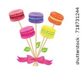 bouquet of macaroon on sticks... | Shutterstock .eps vector #718731244