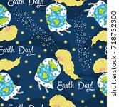 cartoon earth day seamless... | Shutterstock .eps vector #718732300