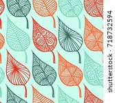 floral leaf seamless pattern... | Shutterstock .eps vector #718732594