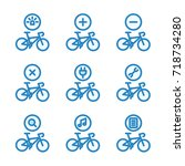 bicycle service icon set | Shutterstock .eps vector #718734280