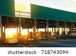 expressway checkpoint on the... | Shutterstock . vector #718743094
