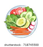 vegetable plate with sliced... | Shutterstock . vector #718745500