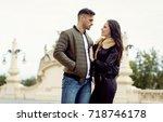 beautiful couple wear jacket... | Shutterstock . vector #718746178