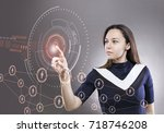 young woman touching the... | Shutterstock . vector #718746208