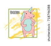 cute cartoon unicorn character  ... | Shutterstock .eps vector #718746388
