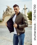 handsome man wear jacket | Shutterstock . vector #718746700
