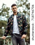 handsome man wear military... | Shutterstock . vector #718746706