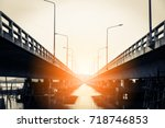 view under the grey  concrete... | Shutterstock . vector #718746853