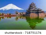 matsumoto castle with fuji...   Shutterstock . vector #718751176