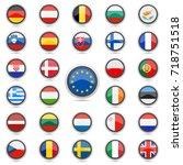 european union flag button... | Shutterstock .eps vector #718751518