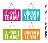 join our team hanging door sign.... | Shutterstock .eps vector #718753696