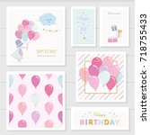 cute birthday cards for girls... | Shutterstock .eps vector #718755433