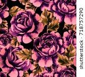 rose seamless pattern.... | Shutterstock . vector #718757290