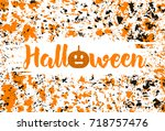 halloween creative background.... | Shutterstock .eps vector #718757476