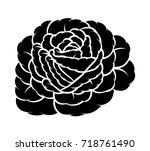 flower rose  black and white.... | Shutterstock .eps vector #718761490