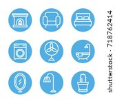interior   furniture icon set | Shutterstock .eps vector #718762414