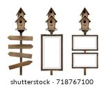 wooden bird house and empty... | Shutterstock . vector #718767100