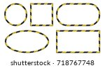 set of 3d frames  yellow and... | Shutterstock .eps vector #718767748