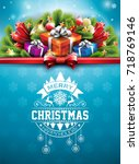 merry christmas illustration... | Shutterstock . vector #718769146