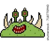 vector pixel art monster... | Shutterstock .eps vector #718770940