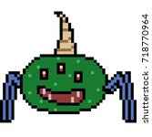 vector pixel art monster... | Shutterstock .eps vector #718770964