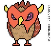 vector pixel art monster... | Shutterstock .eps vector #718770994