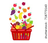 shopping basket and fruit ... | Shutterstock .eps vector #718773160