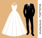 wedding card with the clothes... | Shutterstock .eps vector #718778740