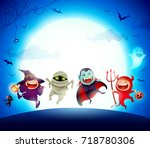 halloween kids costume party.... | Shutterstock .eps vector #718780306