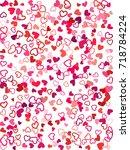 heart shape outline love... | Shutterstock .eps vector #718784224