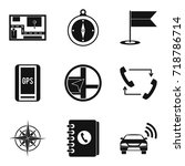 gps tracking icons set. simple... | Shutterstock .eps vector #718786714