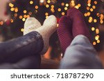 detail of male and female feet... | Shutterstock . vector #718787290